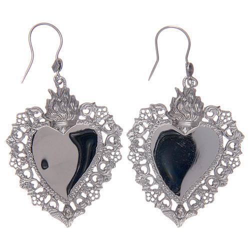 Orecchini in argento 925 con cuore ex voto traforato 2