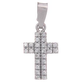 Pingentes, Cruzes, Broches, Correntes: Cruz com zircões transparentes em prata 925