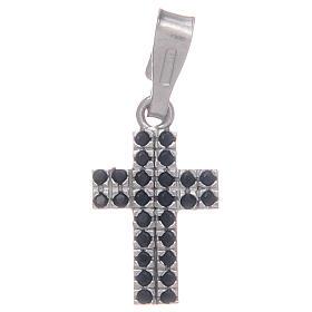 Pingentes, Cruzes, Broches, Correntes: Cruz com zircões pretos em prata 925
