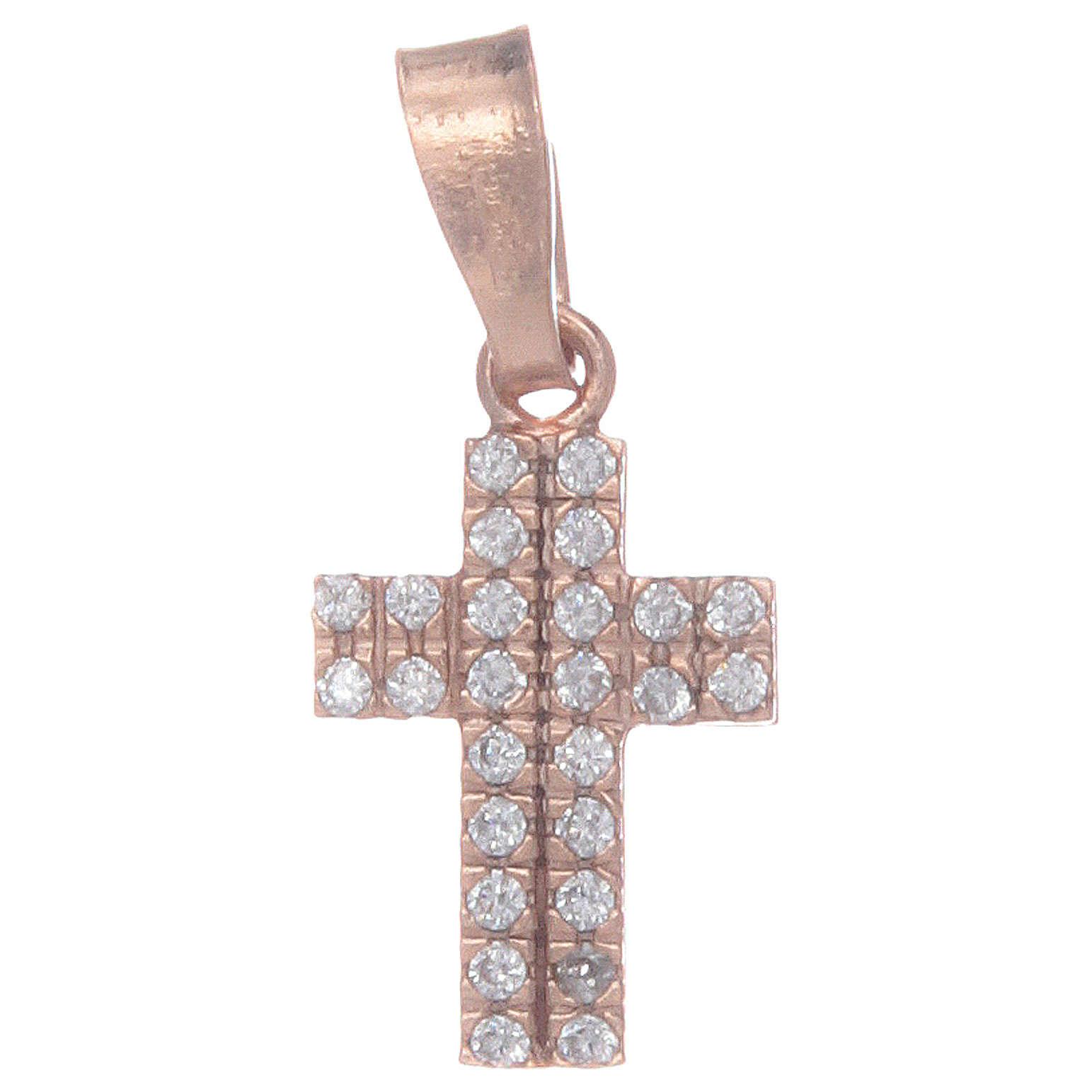 Croce rosata in argento 925 con zirconi trasparenti 4