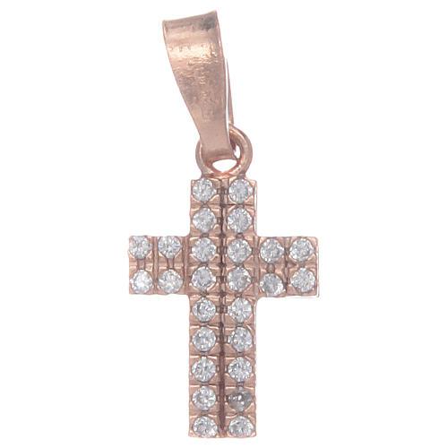 Croce rosata in argento 925 con zirconi trasparenti 1