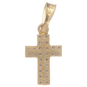Croce dorata con zirconi trasparenti in Argento 925 s2