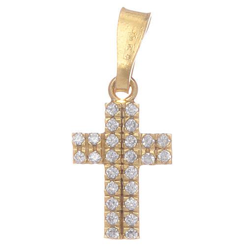 Croce dorata con zirconi trasparenti in Argento 925 1