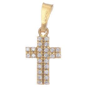 Pingentes, Cruzes, Broches, Correntes: Cruz dourada em prata 925 com zircões transparentes