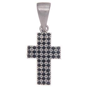 Pingentes, Cruzes, Broches, Correntes: Cruz em prata 925 com zircões pretos