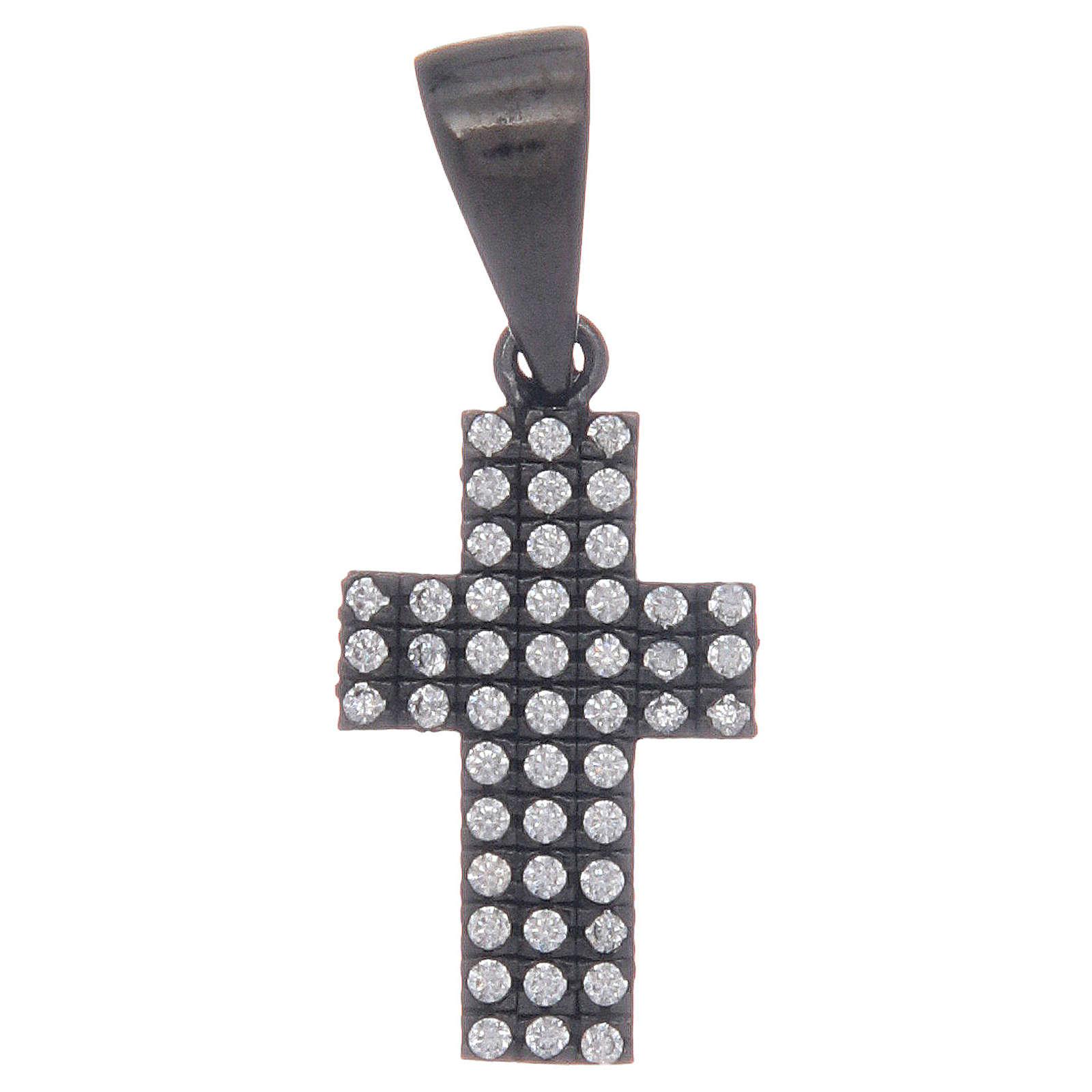 Croix noire en argent 925 avec zircons transparents 4