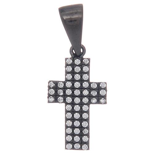 Croce nera in argento 925 con zirconi trasparenti 1