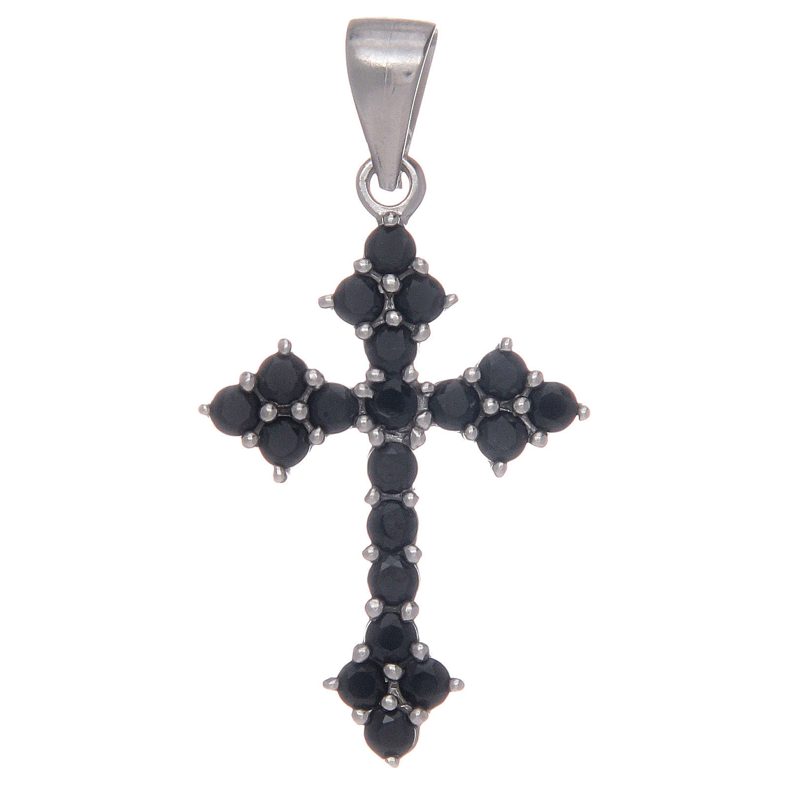 Croce trilobata in Argento 925 con zirconi neri 4