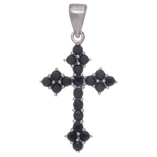 Croce trilobata in Argento 925 con zirconi neri 1