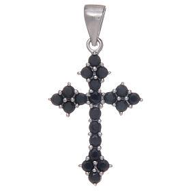 Pingentes, Cruzes, Broches, Correntes: Cruz em trevo em prata 925 com zircões pretos