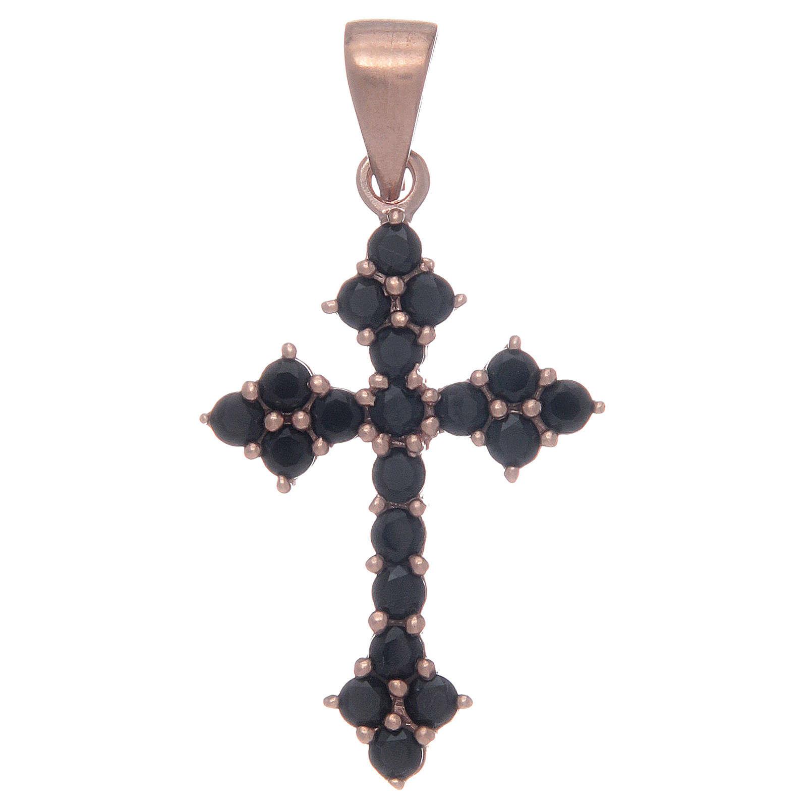 Croce trilobata rosata in argento 925 con zirconi neri 4