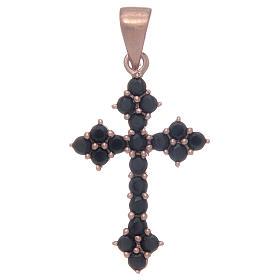 Pingentes, Cruzes, Broches, Correntes: Cruz em trevo rosê em prata 925 com zircões pretos