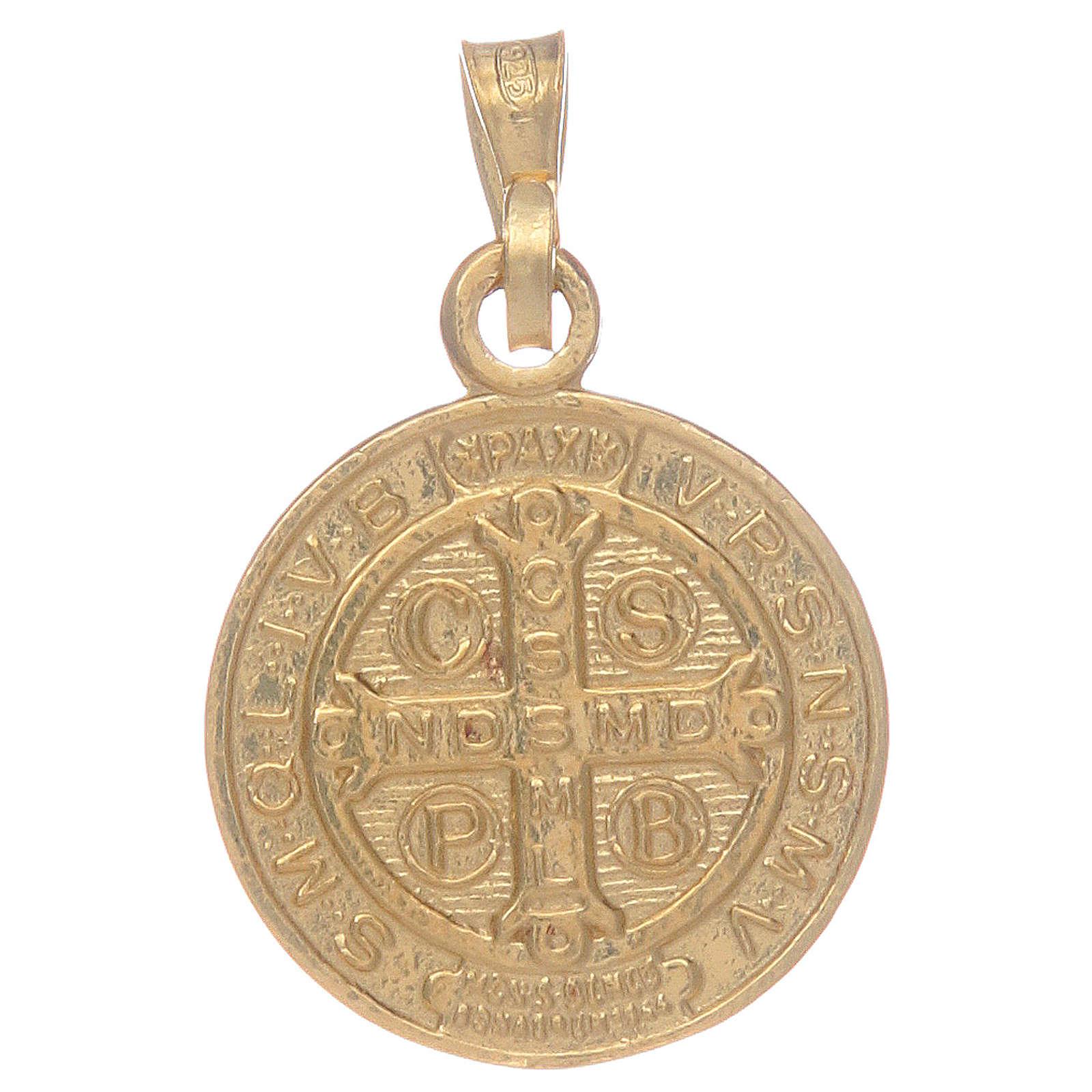 Médaille St Benoît en argent 925 doré 4
