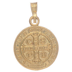 Médaille St Benoît en argent 925 doré s2