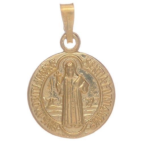 Médaille St Benoît en argent 925 doré 1