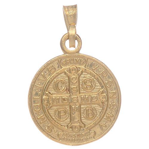 Médaille St Benoît en argent 925 doré 2