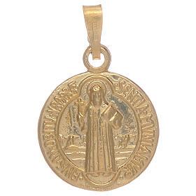 Zawieszki Krzyżyki Broszki Łańcuszki: Medalik Świętego Benedykta ze srebra 925 pozłacany