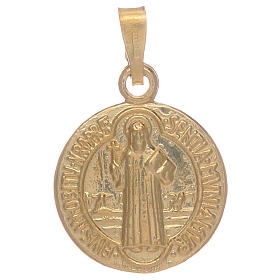 Saint Benedict medal in gold plated sterling silver s1