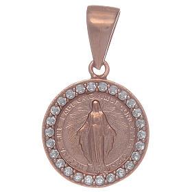 Medalla Virgen Milagrosa de Plata 925 con zircones transparentes s1