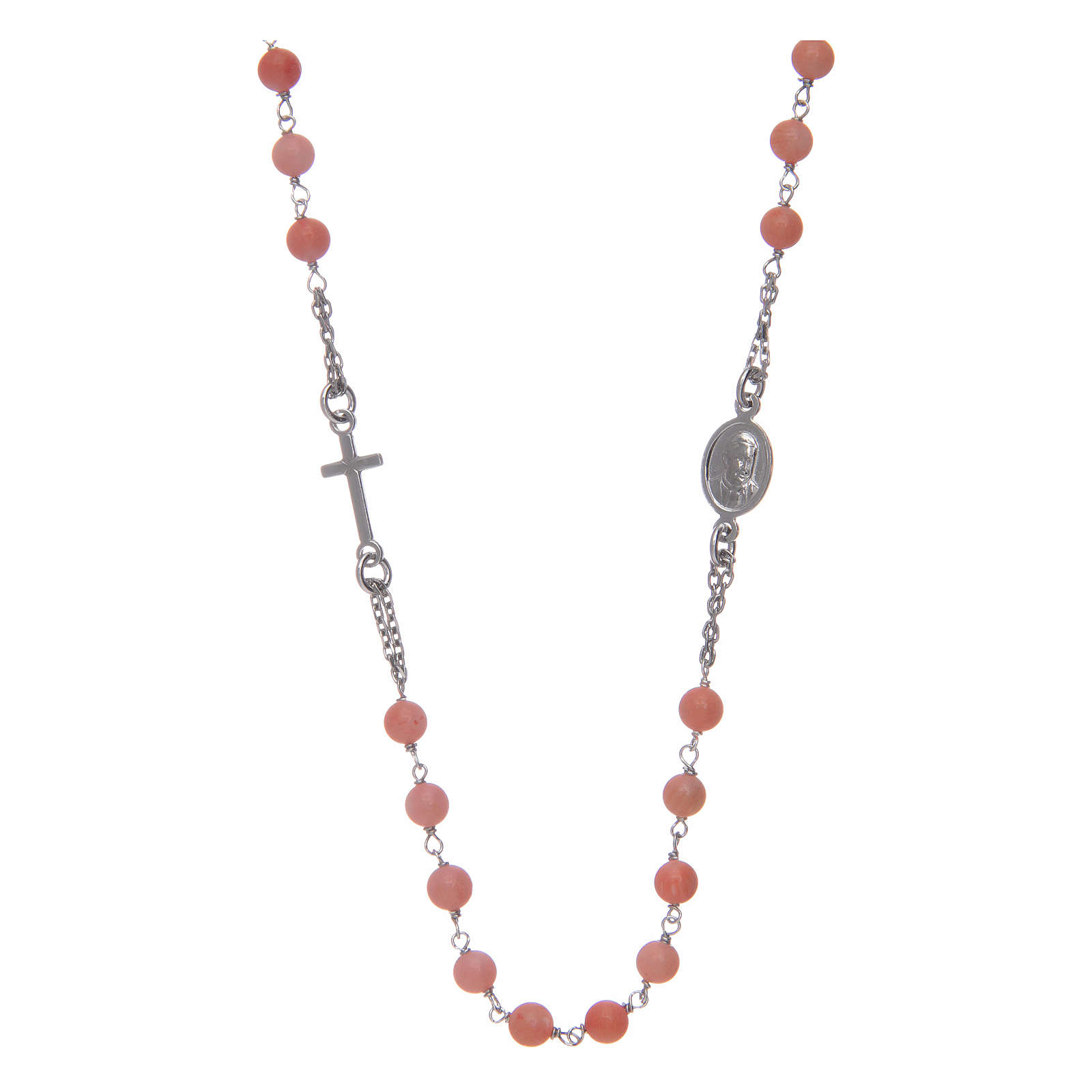 Amen rosary choker in coral and bamboo 4