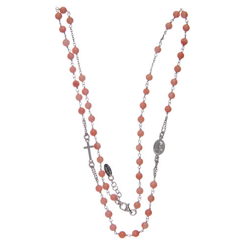 Amen rosary choker in coral and bamboo 3