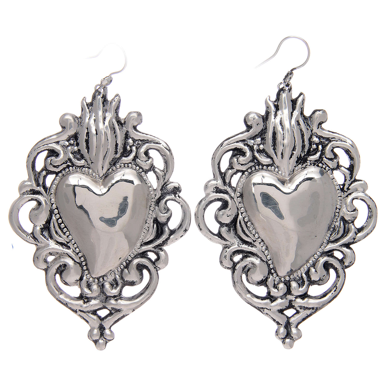 Pendant earrings in 925 sterling silver with drilled votive heart 4
