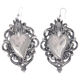 Pendant earrings in 925 sterling silver with drilled votive heart s2