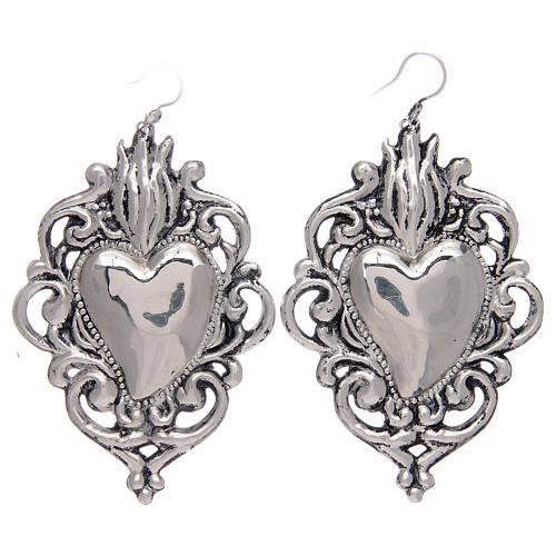 Pendant earrings in 925 sterling silver with drilled votive heart 1
