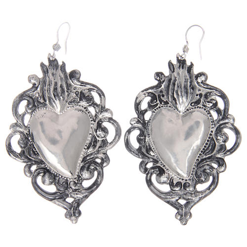 Pendant earrings in 925 sterling silver with drilled votive heart 2