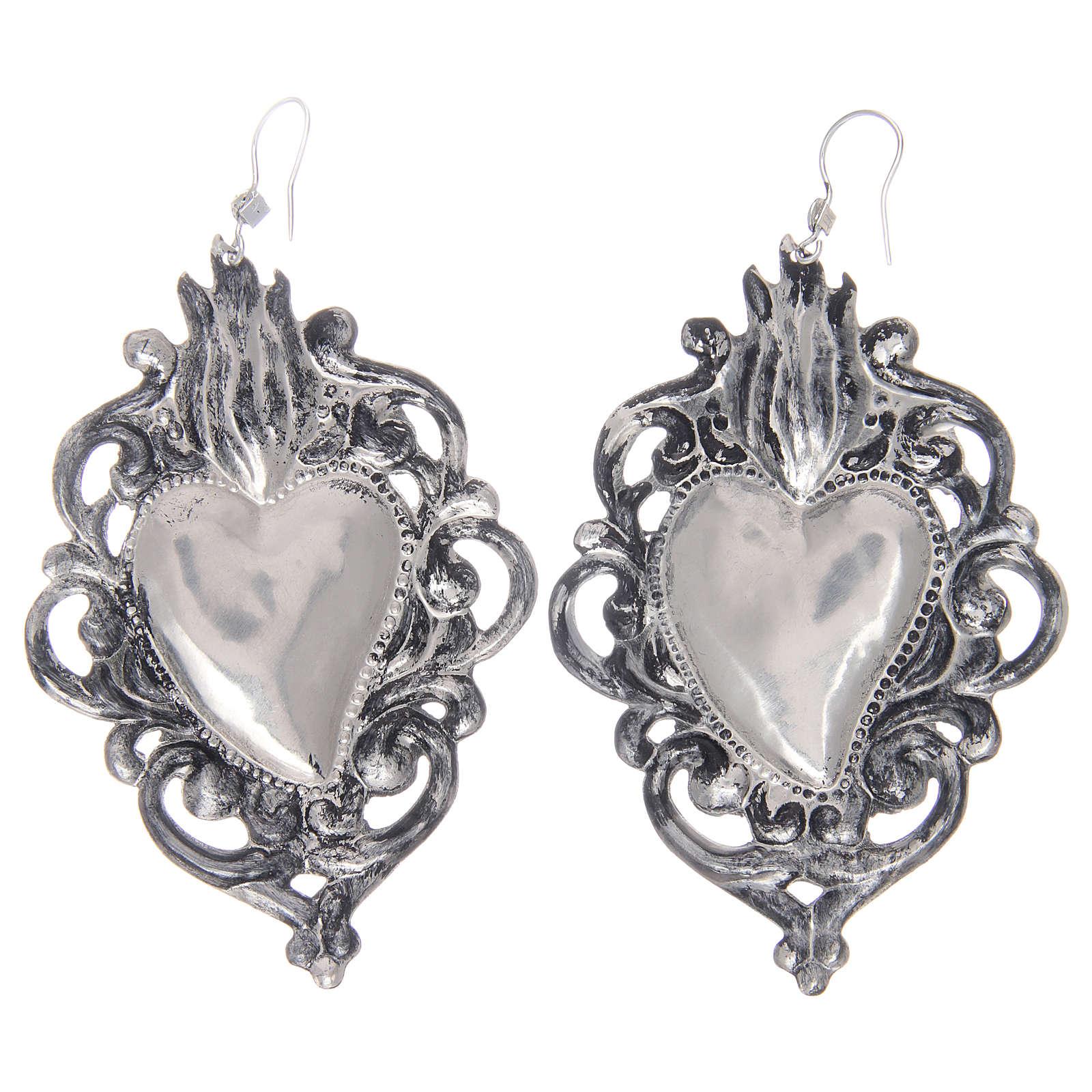Brincos pingentes em prata 925 coração ex-voto rendelhado 4