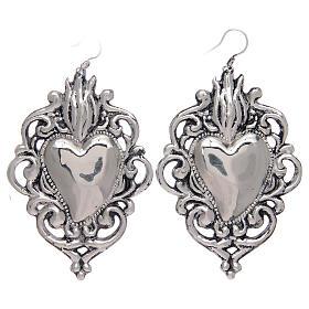 Brincos pingentes em prata 925 coração ex-voto rendelhado s1