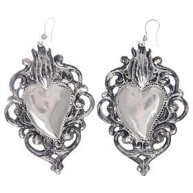 Brincos pingentes em prata 925 coração ex-voto rendelhado s2