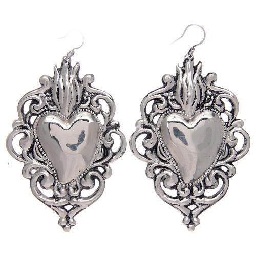 Brincos pingentes em prata 925 coração ex-voto rendelhado 1