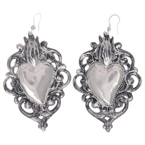 Brincos pingentes em prata 925 coração ex-voto rendelhado 2