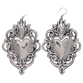 Pendant earrings in 925 sterling silver with drilled votive heart s1