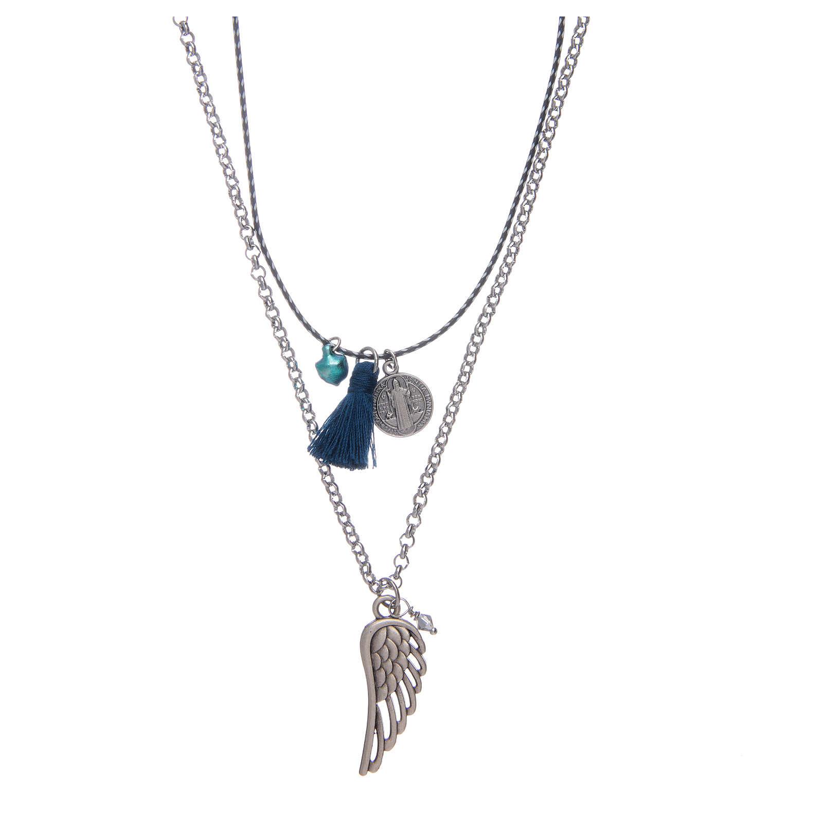 Collana catena a corda con nappina blu 4