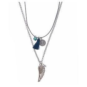 Collana catena a corda con nappina blu s1