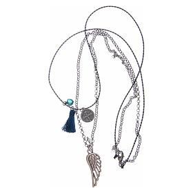 Collana catena a corda con nappina blu s3