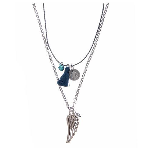 Collana catena a corda con nappina blu 1