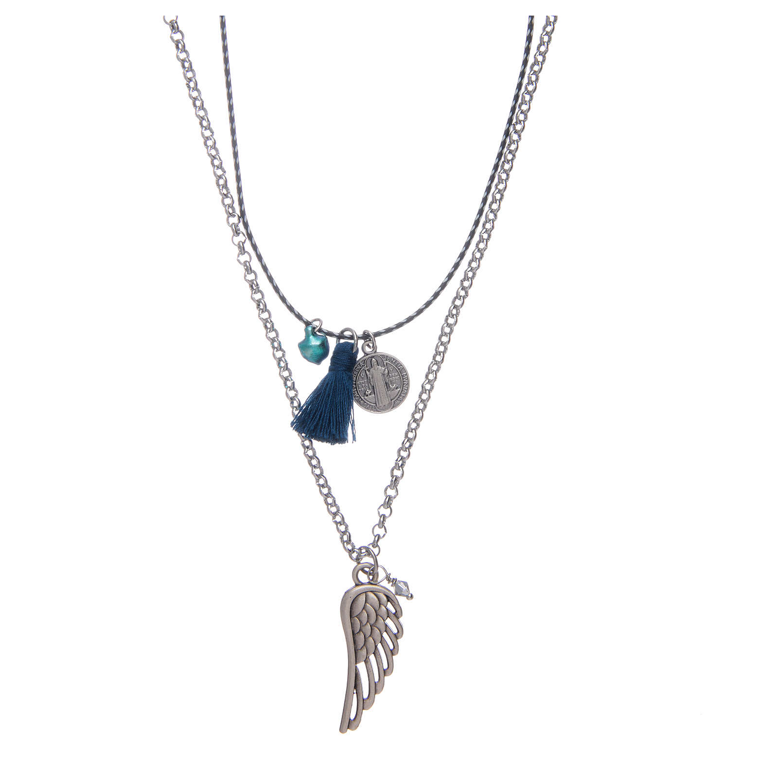 Necklace with chain, cord and blue tassel 4
