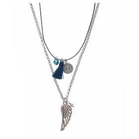 Necklace with chain, cord and blue tassel s1