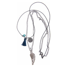 Necklace with chain, cord and blue tassel s3