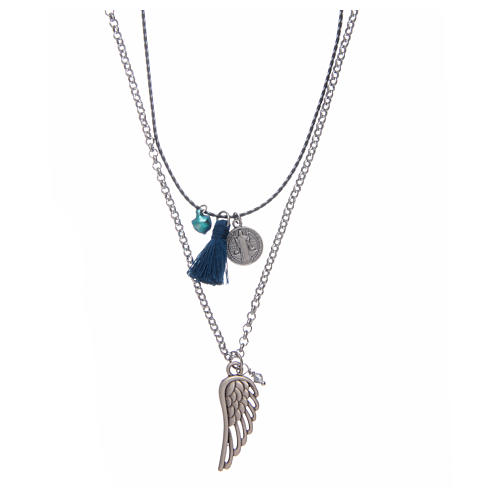 Necklace with chain, cord and blue tassel 1