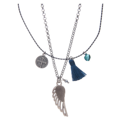 Necklace with chain, cord and blue tassel 2