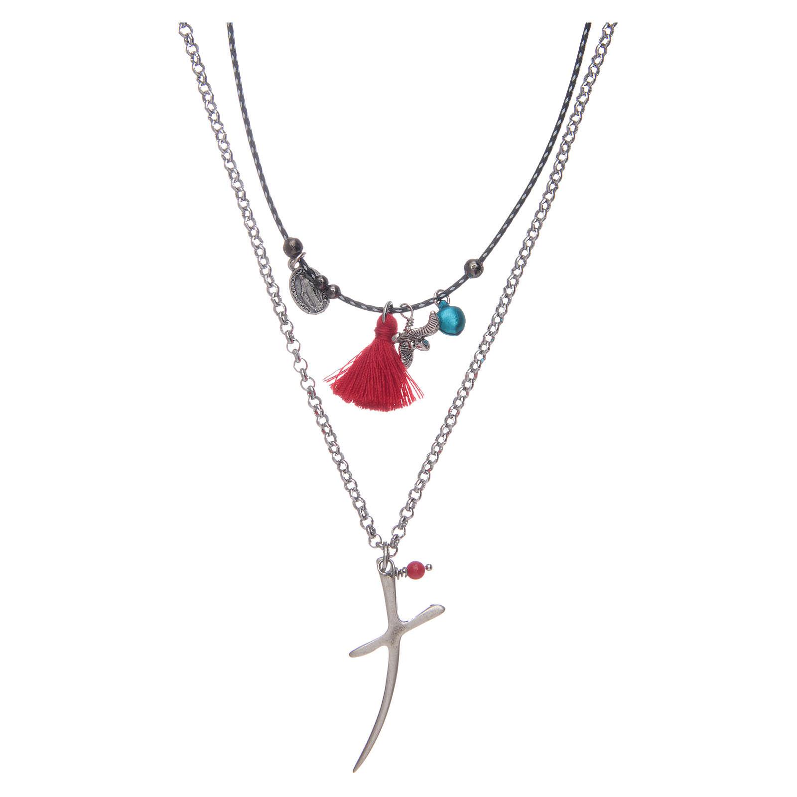 Collana catena con croce stilizzata e nappina rossa 4