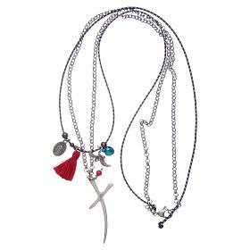Collana catena con croce stilizzata e nappina rossa s3