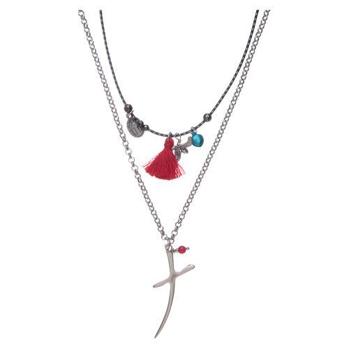 Collana catena con croce stilizzata e nappina rossa 1