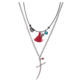 Pingentes, Cruzes, Broches, Correntes: Colar corrente com cruz estilizada e borla vermelha
