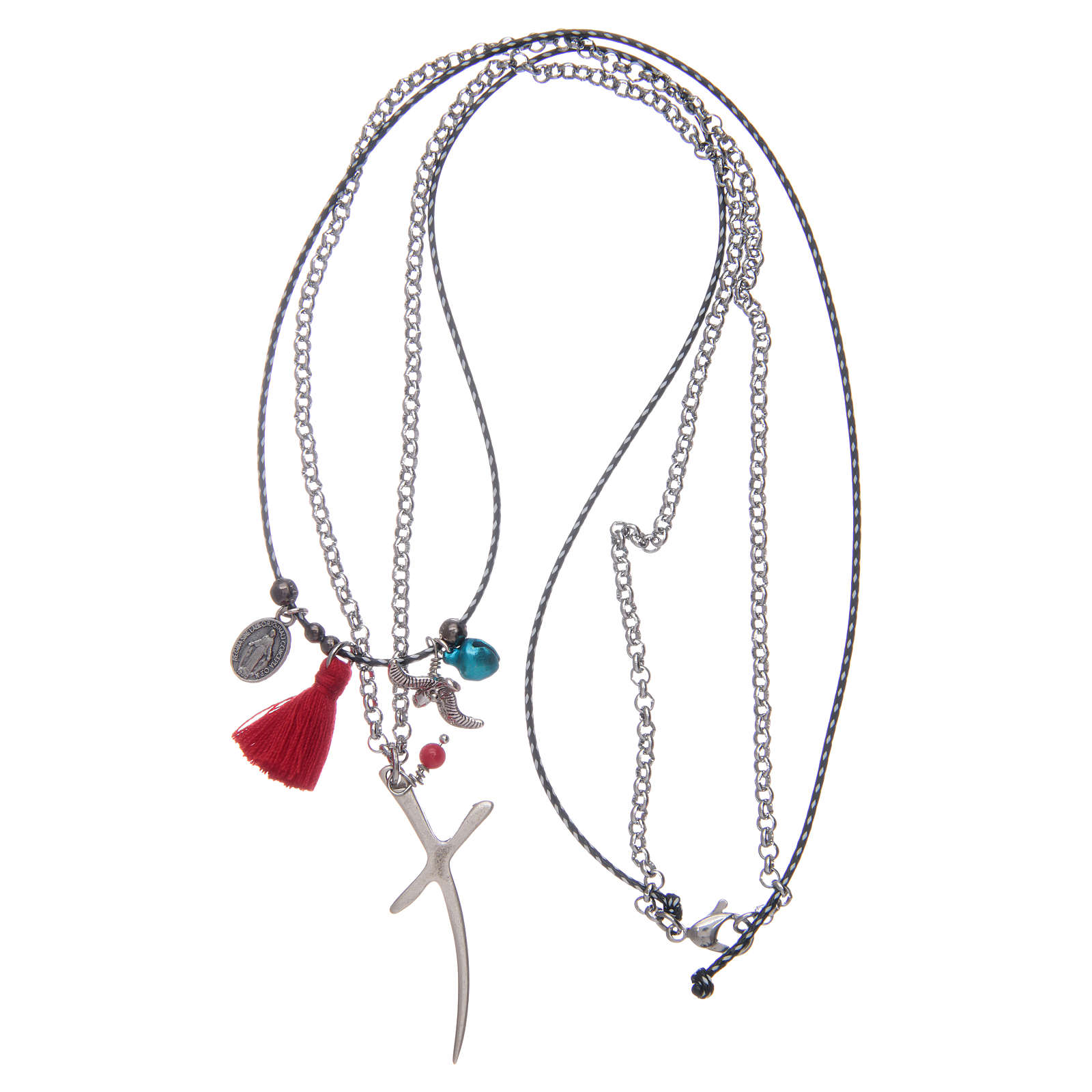 Necklace with chain, stylized cross and red tassel 4