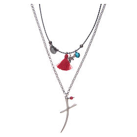 Necklace with chain, stylized cross and red tassel s1